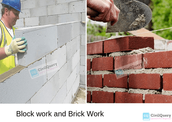 Block work and brick work